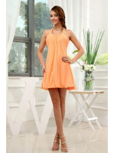 Halter Orange Mini-length Dama Dress