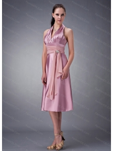 Halter Tea-length Sash Dama Dress 2013 On Sale