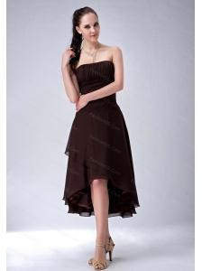 High-low Chiffon Ruch Brown Dama Dress 2013 On Sale
