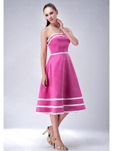 Hot Pink A-line / Princess Strapless 2013 Dama Dress On Sale