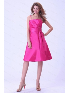 Hot Pink Spaghetti Straps Knee-length Dama Dress