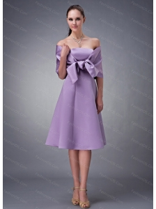 Lavender Strapless Tea-length Discount Dama Dress