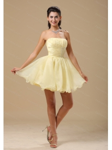Light Yellow Short Beading and Ruch Dama Dresses 2013
