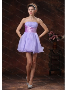 Lilac Short Strapless Organza Dama Dresses On Sale