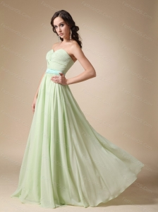 Long Empire Sweetheart Floor-length Belt Chiffon Dama Dresses