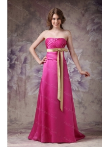 Long Hot Pink Column Strapless Sash Dama Dress For Quinceanera 2013