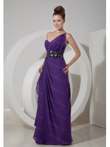 Long Purple Column One Shoulder Beading Dama Dress