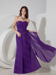 Long Purple Column Sweetheart Chiffon Ruch Dama Dresses