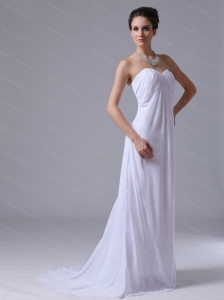 Long White Empire Chiffon Sweetheart Dama Dresses