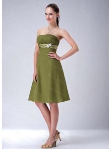 Olive Green Strapless Chiffon Discount Dama Dress