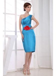 One Shoulder Bow Blue Discount Dama Dress