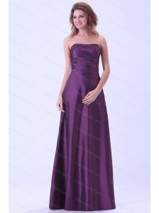 Purple Strapless Floor-length Discount Dama Dress