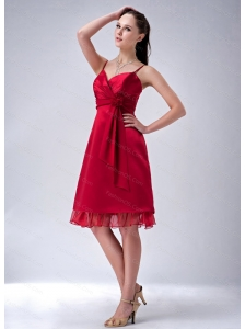 Red Spaghetti Straps Flowers Cheap Dama Dress