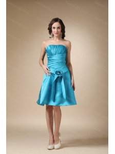 Short Aqua Blue Tafftea Ruch Dama Dress For Summer