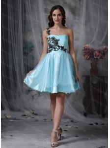 Short Aqua Blue A-line One Shoulder Appliques Dama Dresses