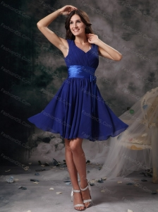 Short Blue Column / Sheath V-neck Ruch Dama Dresses for Quinceanera