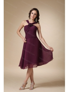 Short Dark Purple A-line V-neck Ruch Dama Dress For Quinceanera
