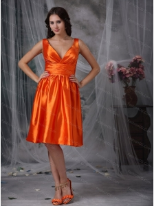Short Orange Red Column V-neckRuch Dama Dresses for Quinceanera 2013
