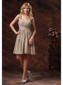Short Ruching Straps Grey Chiffon Dama Dresses