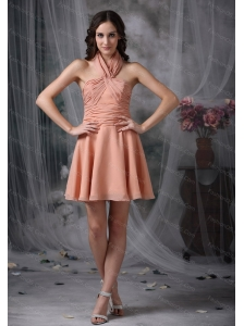 Short Rust Red A-line Halter Dama Dresses for Quinceanera