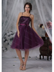 Short Spaghetti Straps Knee-length Tulle Dama Dresses On Sale