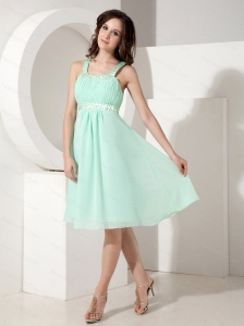 Short Straps Apple Green Dama Dress With Ruch