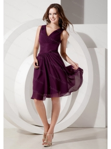 Short V-neck Dama Dress Dark Purple Chiffon on Sale