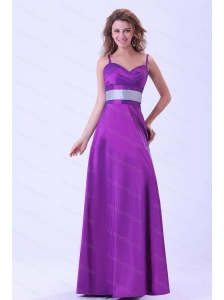 Spaghetti Straps Purple Floor-length Cheap Dama Dress