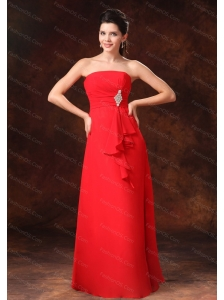 Strapless Red Empire Chiffon 2013 Dama dress on Sale