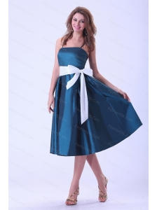 Straps Sash Tea-length Cheap Dama Dress