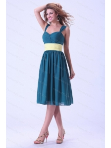 Straps Teal Blue Ruch Chiffon Dama Dress