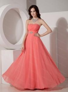 Watermelon Empire Strapless Chiffon Beading Sama Dress 2013