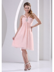 2013 Baby Pink Straps V-neck Short Dama Dresses for Quinceanera With Beading