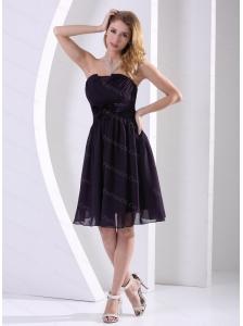 2013 Dark Purple Chiffon Ruch Dama Dresses for Quinceanera A-line