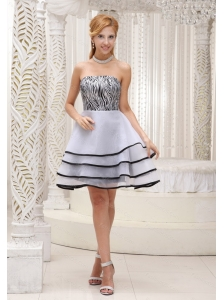 A-line Tiered Organza and Zebra Mini-length Short Dama Dress