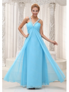 Aqua Blue Chiffon V-neck Beaded Long Dama Dress