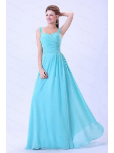 Aqua Blue Ruching Long Chiffon 2013 Dama Dresses