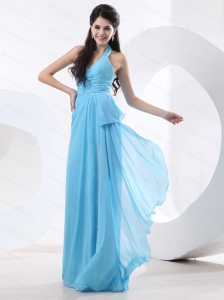 Baby Blue Halter Long Dama Dress On Sale