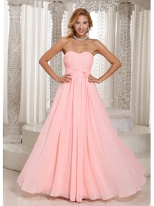 Baby Pink Ruched Sweetheart Long Dama Dress