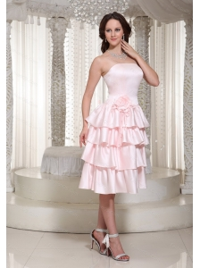 Baby Pink Ruffles Layered Tea-length Dama Dress 2013