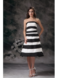 Black and White A-line Strapless Dama Dresses for Quinceanera