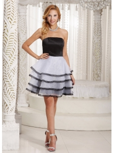 Black and White Ruffled Layers Short Dama Dress