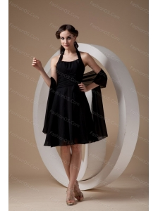Black Column Halter Chiffon Ruch Dama Dresses On Sale