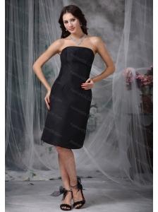Black Strapless Satin Ruch Short Dama Dresses On Sale