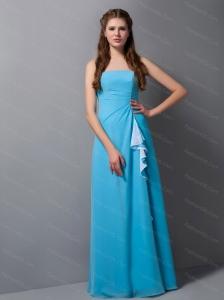 Blue Strapless Chiffon Floor-length Cheap Dama Dress
