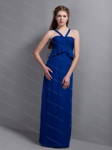 Blue V-neck Chiffon 2013 Discount Dama Dress