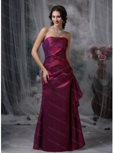 Burgundy Column Strapless Taffeta Appliques Dama Dresses