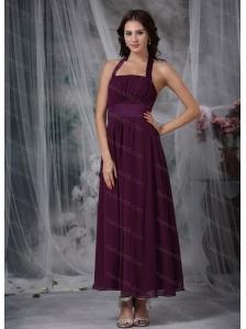 Burgundy Empire Halter Chiffon Ruch Dama Dresses 2013