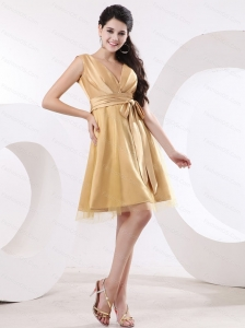 Champagne V-neck Sash Mini-length Discount Dama Dress