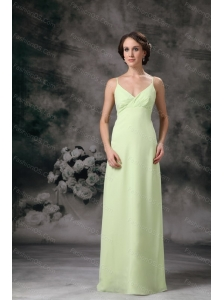 Cheap Yellow Green Column Straps Chiffon Long Dama Dress